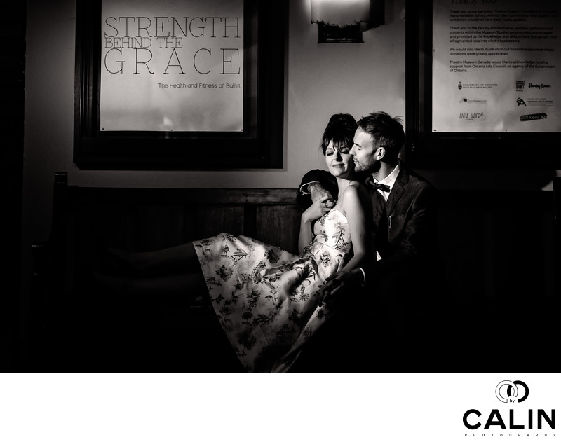 Night Portrait of Engaged Couple at Hart House