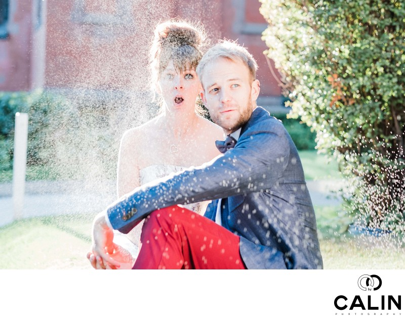 Engaged Couple Sprayed During Photo Shoot at Hart House