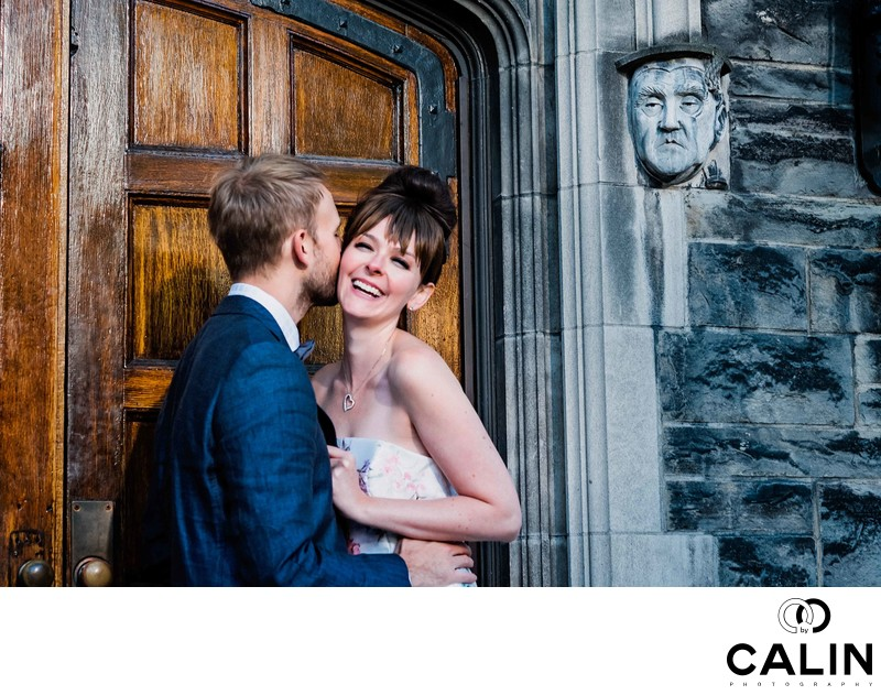Creative Portrait of Engaged Couple at Hart House