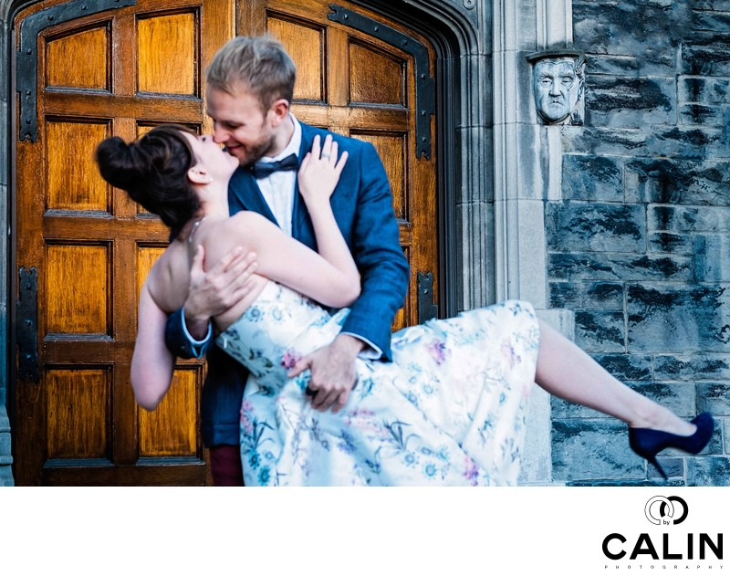 Romantic Scene at Hart House Engagement Photo Shoot