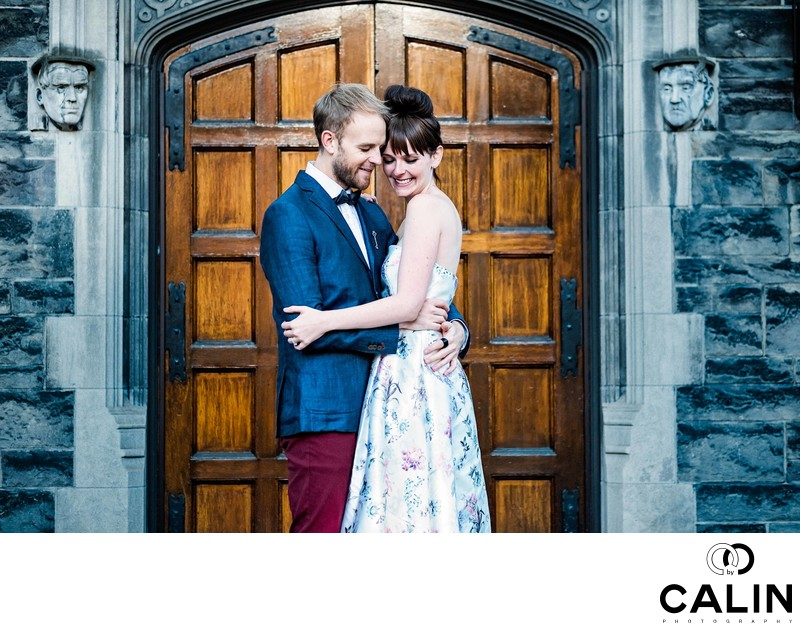 Couple Embrace During Hart House Engagement Session