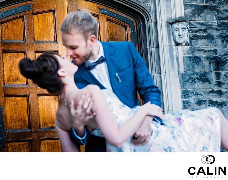 Man Dips His Fiancee During Hart House Engagement Shoot