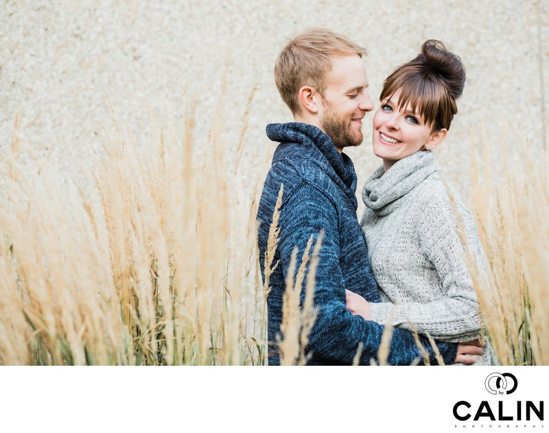 Outdoor Portrait of Engaged Couple at Hart House