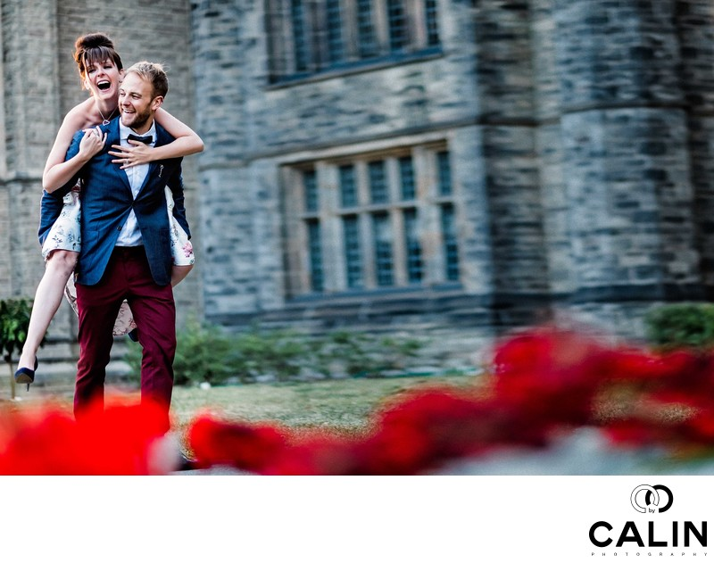 She Piggybacks Him During Engagement Shoot at Hart House
