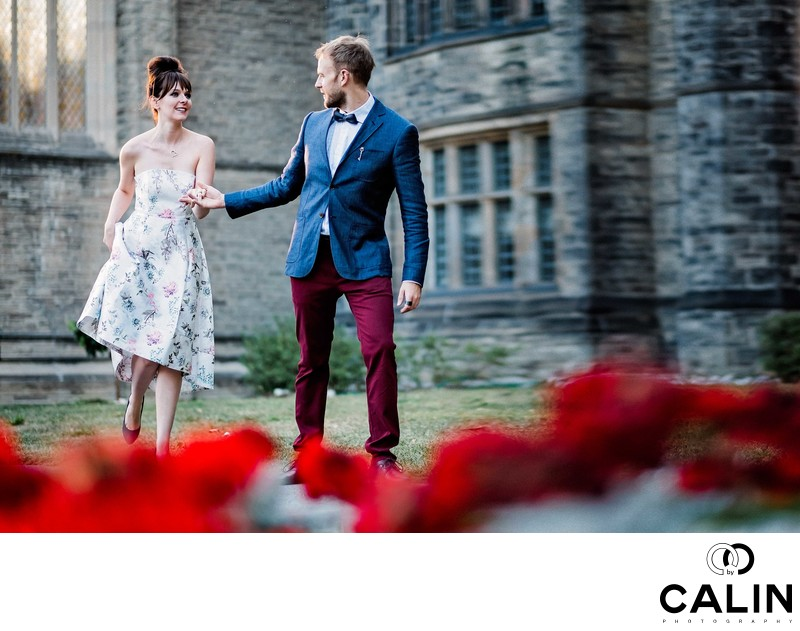 Engaged Couple Running During Photo Shoot at Hart House