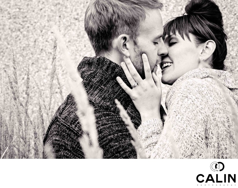 Romantic Kiss During Engagement Session at Hart House