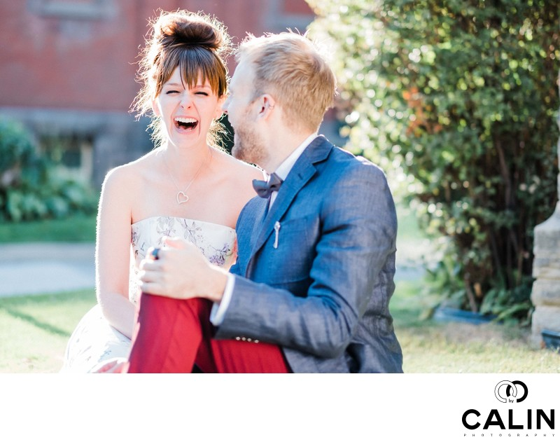 Engaged Couple Laugh During Hart House Photo Shoot