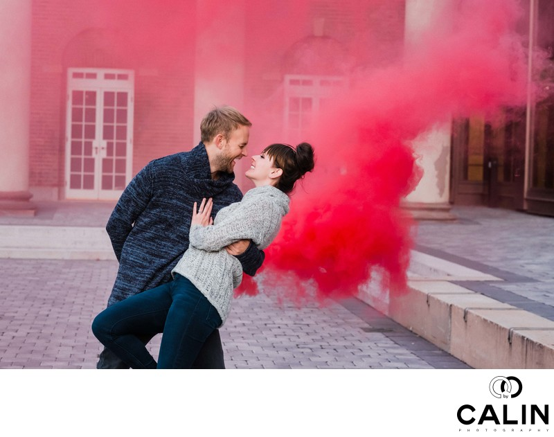 Red Smoke Scene During Hart House Engagement Session