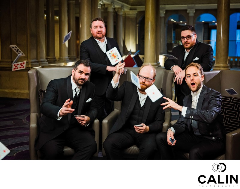 Groomsmen Playing Cards