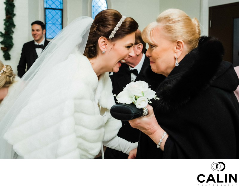Bride and Her Mother Laugh