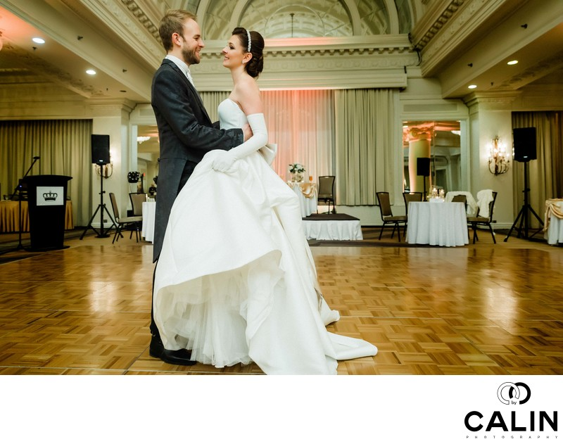 Bride and Groom Dance in the Vanity Fair Ballroom
