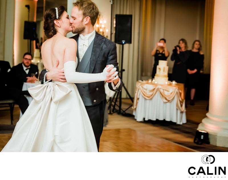 Newlyweds Kiss During their First Dance