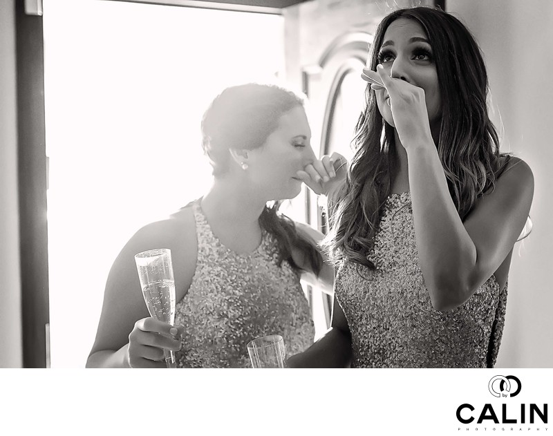 Bridesmaid Cries at Chateau Le Parc Wedding