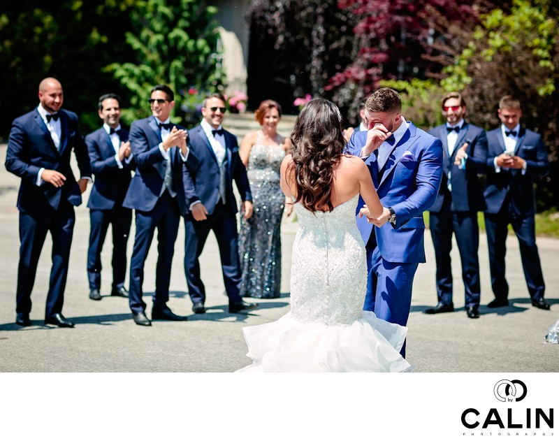 Emotional Groom and Bridal Party