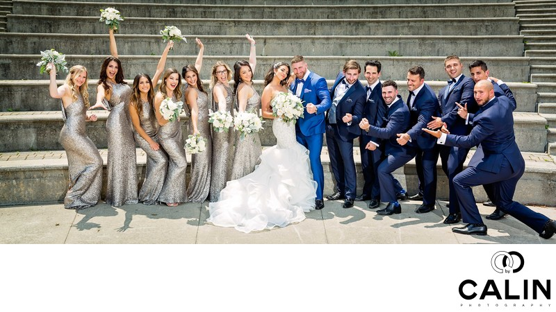 Bridal Party Pose at Chateau Le Parc Wedding