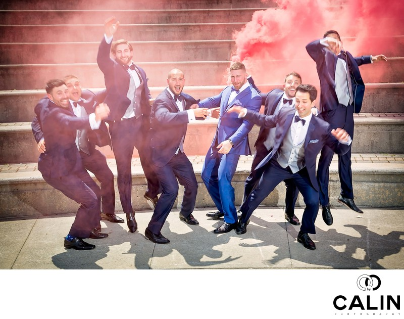 Groomsmen Jump in the Air