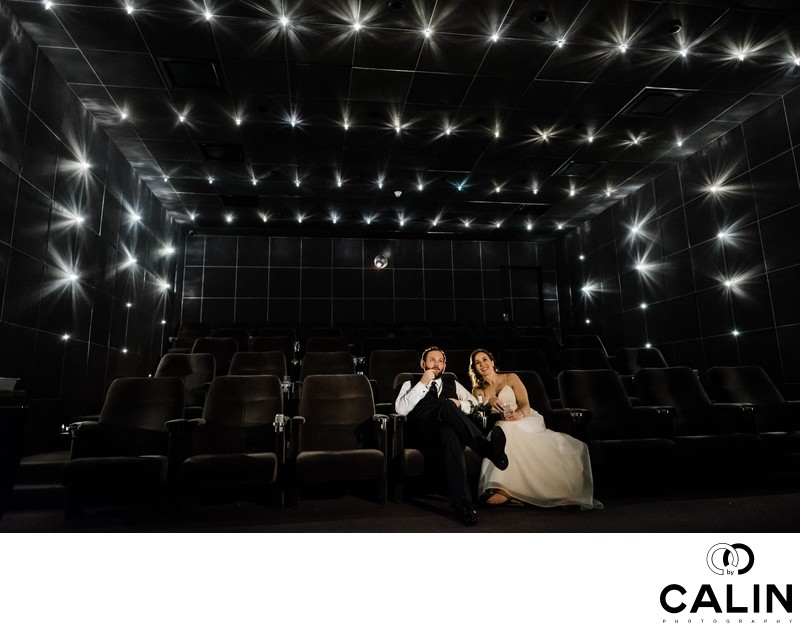 Newlyweds Watch a Movie of a Thompson Hotel Toronto Wedding