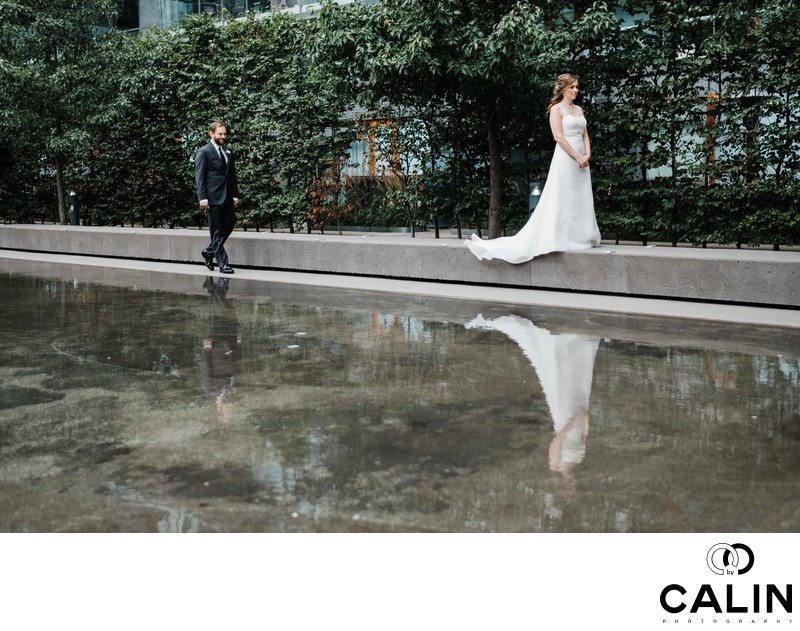 Groom Walks Towards His Bride at a Thompson Hotel Toronto Wedding