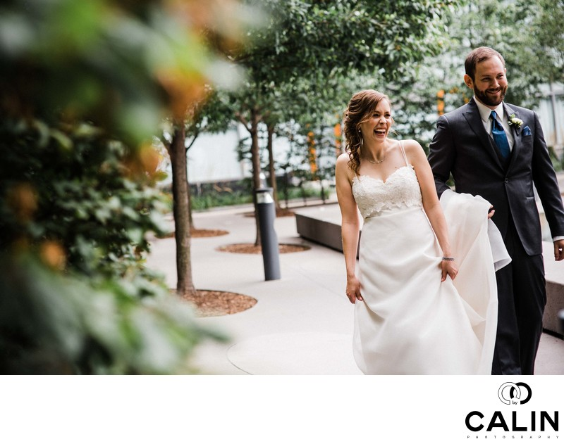 Bride and Groom Walk at a Thompson Hotel Toronto Wedding