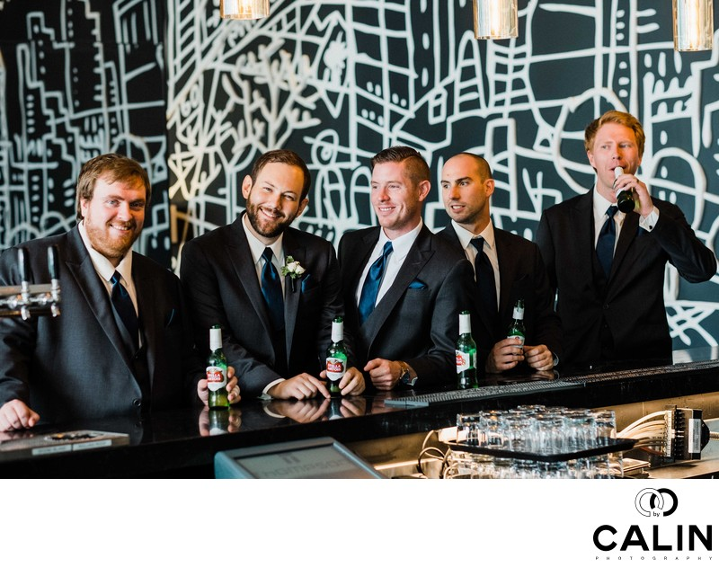 The Groom and Groomsmen at a Thompson Hotel Toronto Wedding