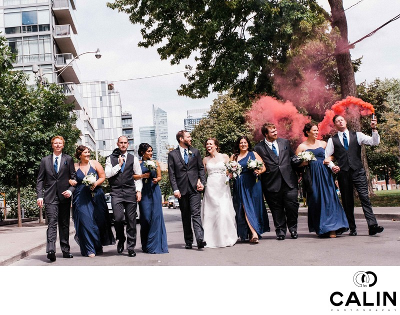 Bridal Party in front of Thompson Hotel Toronto