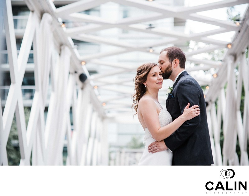 Bride and Groom Hug at Their Thompson Hotel Toronto Wedding