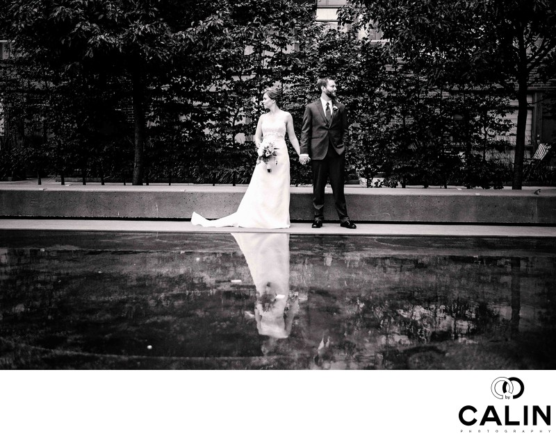 Fashion Portrait of Bride and Groom at Their Thompson Hotel Toronto Wedding