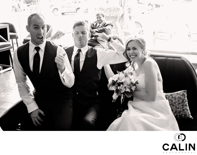 Groomsmen Have Fun at a Thompson Hotel Toronto Wedding