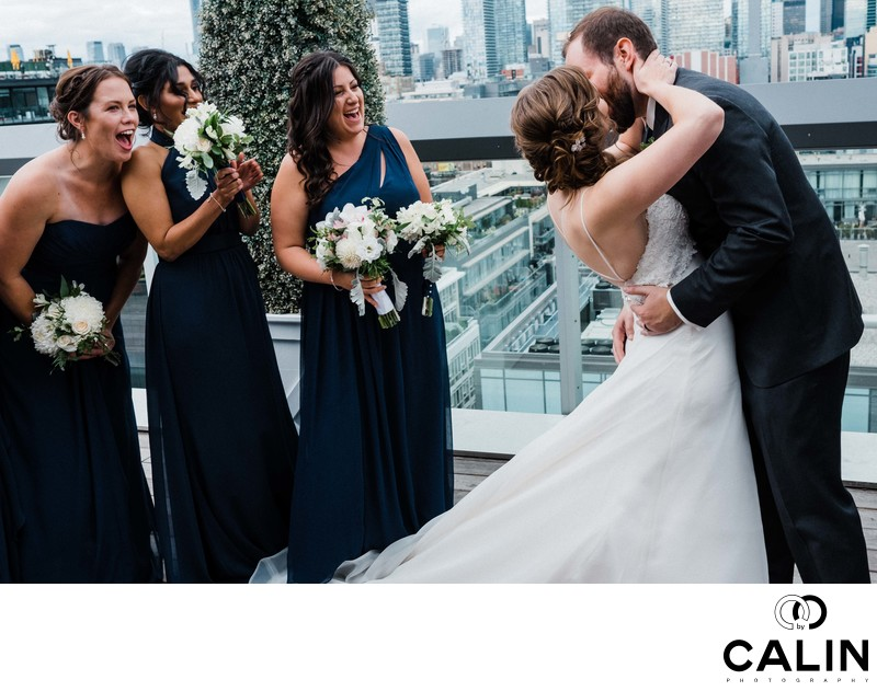 First Kiss at a Thompson Hotel Toronto Wedding