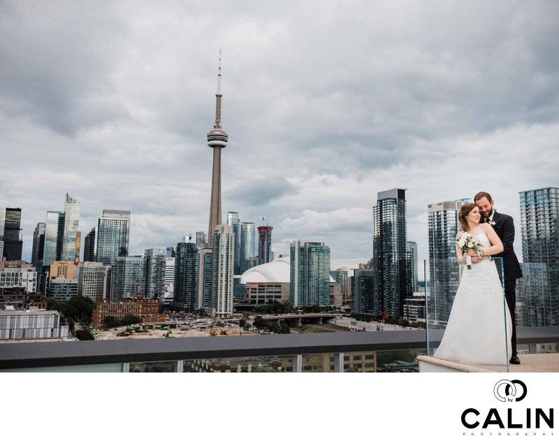Bride and Groom Environmental Portrait at a Thompson Hotel Toronto Wedding