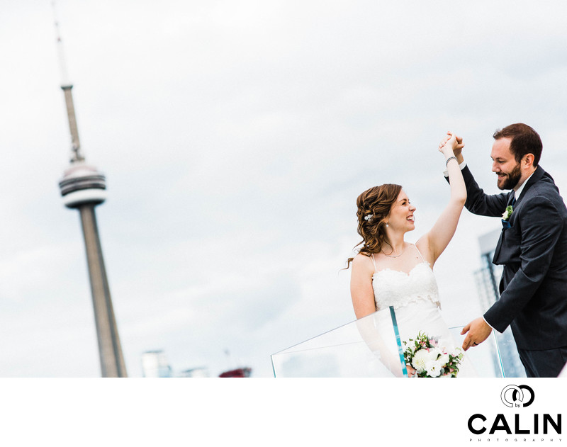 Bride and Groom Dance on top of Thompson Hotel Toronto