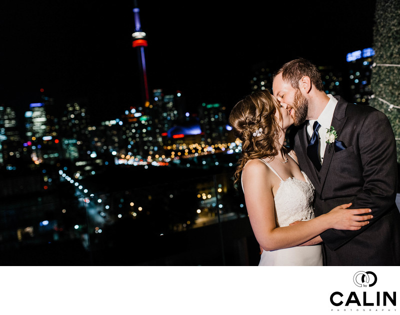 Passionate Kiss at a Thompson Hotel Toronto Wedding