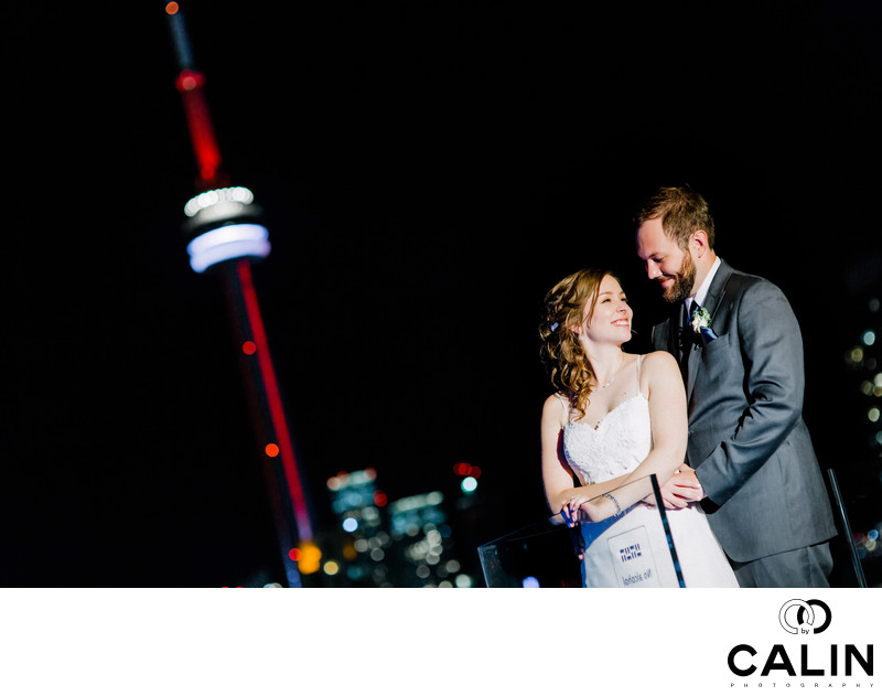 Newlyweds on top of Thompson Hotel Toronto