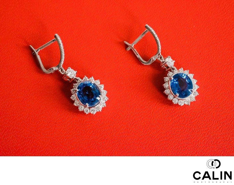 Bride's Earrings at Sassafraz Restaurant Wedding Toronto