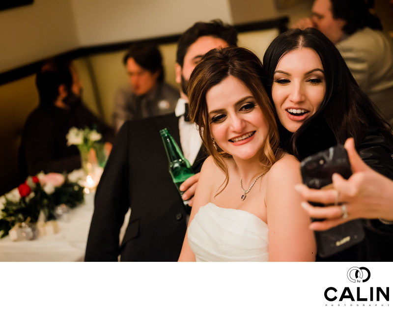 Bride and Guests Take Selfies at Sassafraz Wedding
