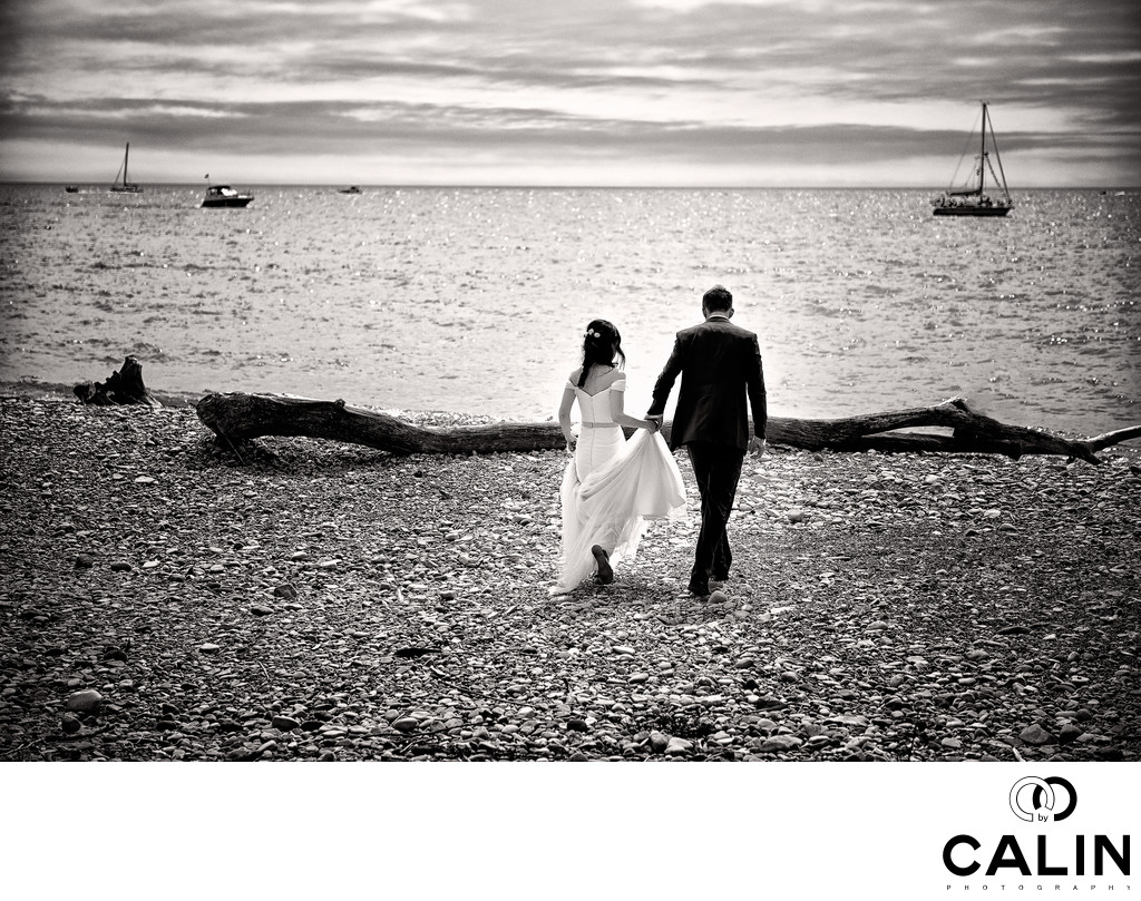 Bride and Groom Walk on Cherry Beach