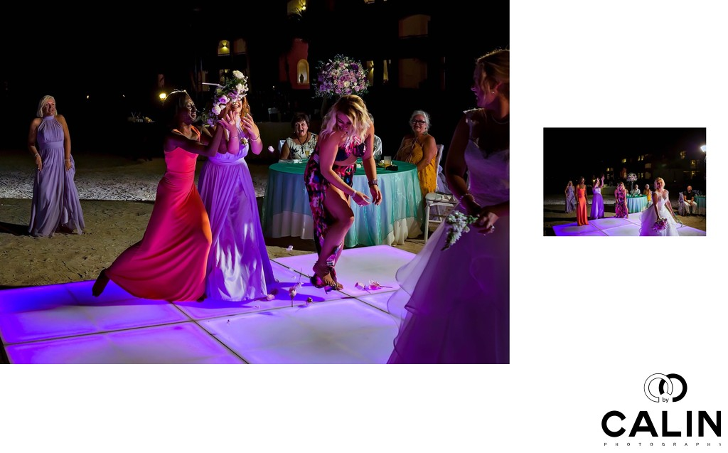 Affordable Wedding Photography London Ontario: Bouquet Toss At Barcelo Maya Palace Deluxe Wedding