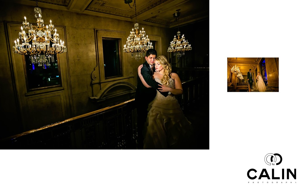 Bride and Groom Portraits in the Main Lobby