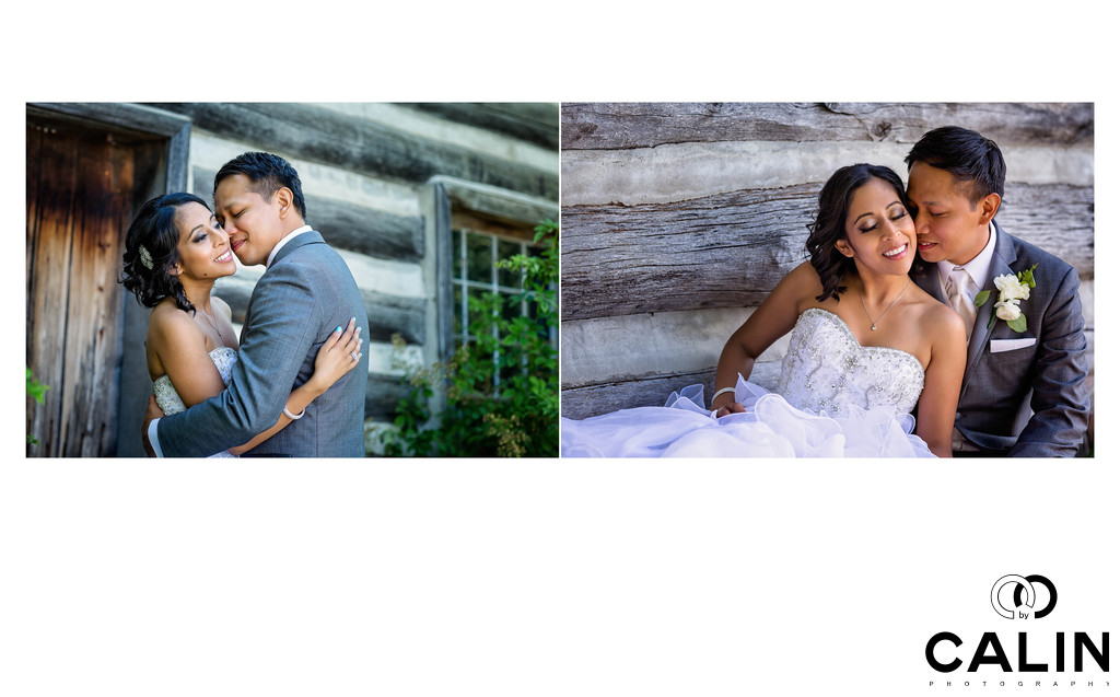 Newlyweds Kiss at Country Heritage Park Wedding