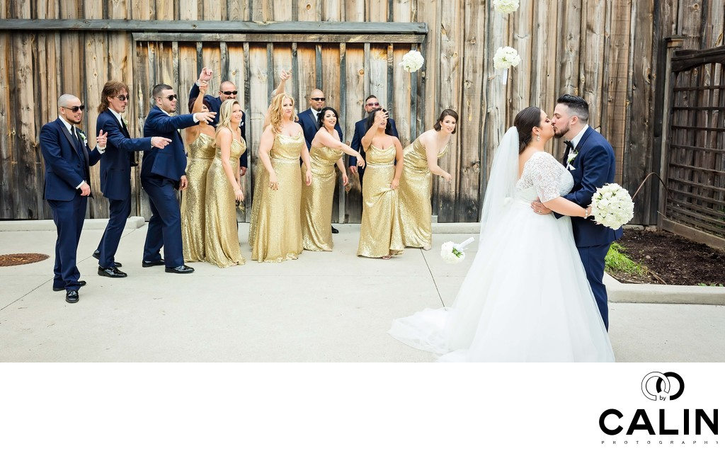 Bridal Party and Newlyweds Have Fun