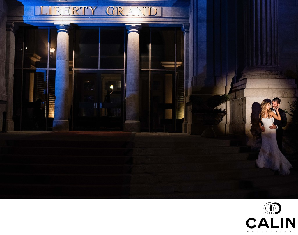 Night Couple's Portrait at Liberty Grand Wedding