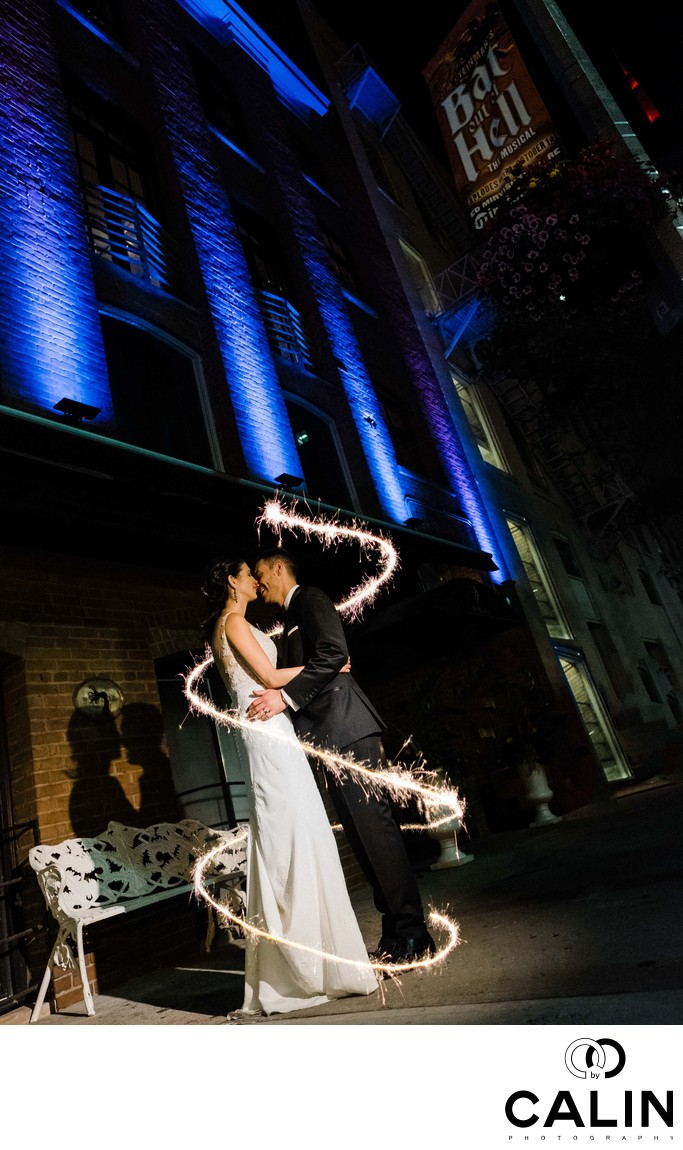 Sparkler Photography at Storys Building Wedding