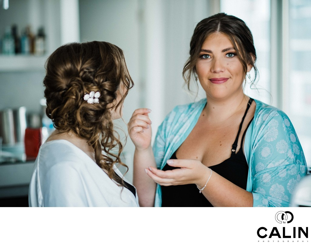 Bride and Maid of Honour at a Thompson Hotel Toronto Wedding
