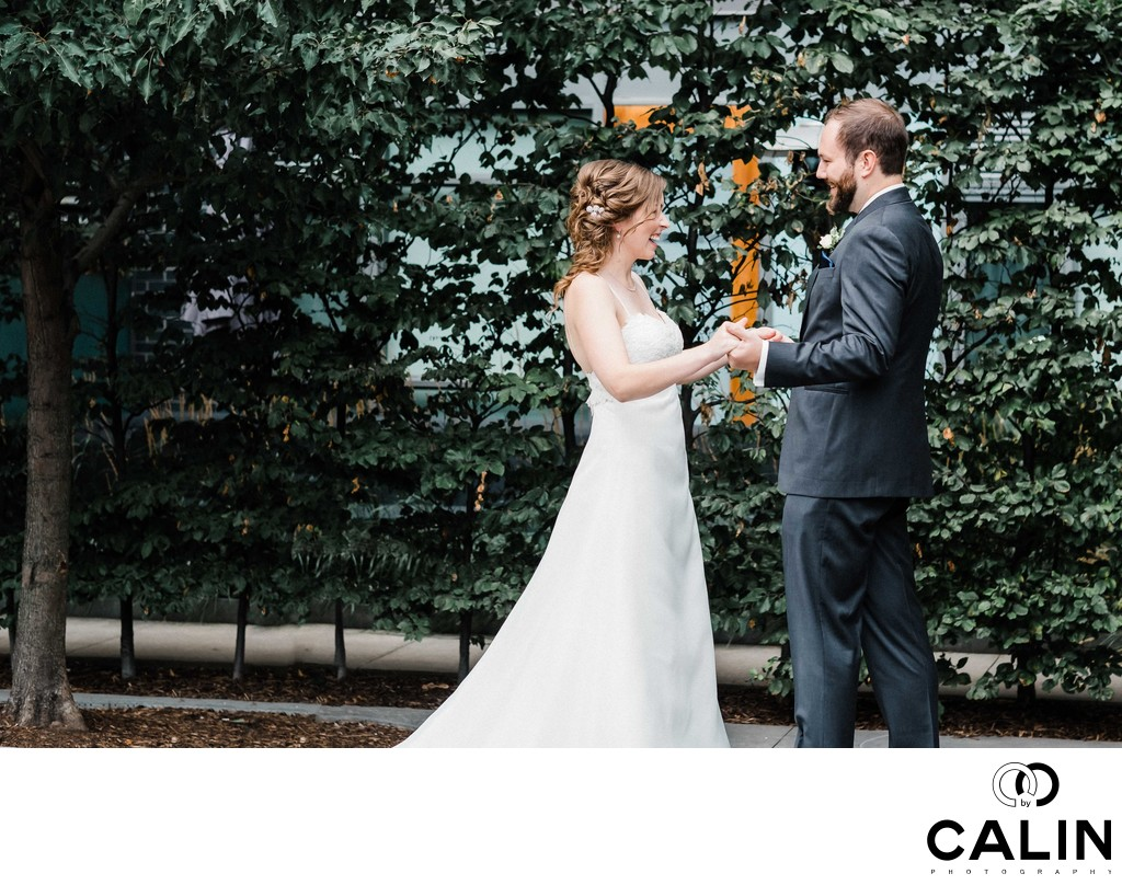 Bride and Groom See Each Other at their Thompson Hotel Toronto Wedding
