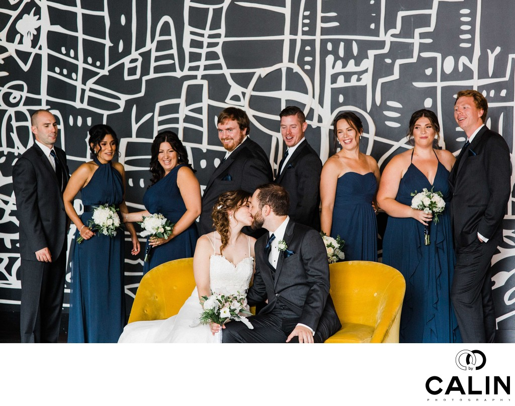 Bridal Party Portrait at a Thompson Hotel Toronto Wedding