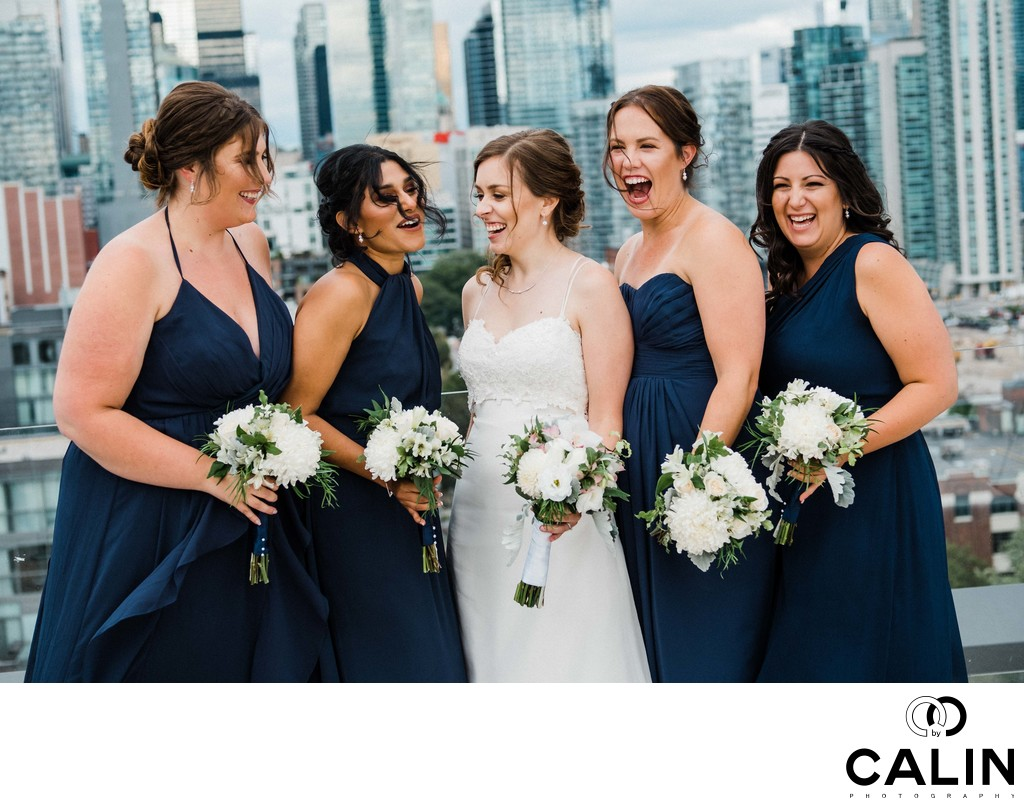 Bridesmaids Have Fun at a Thompson Hotel Toronto Wedding