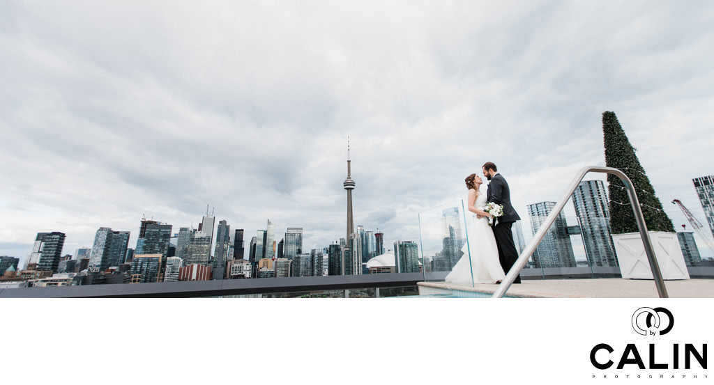 Newlyweds Portrait on Rooftop of Thompson Hotel Toronto