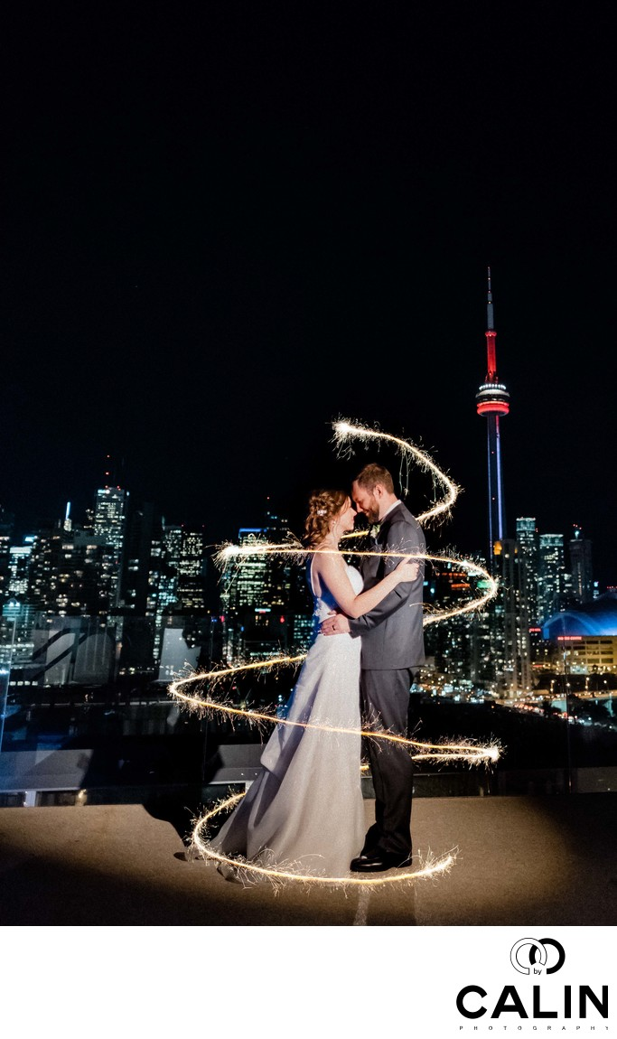 Newlyweds Sparklers Portrait at a Thompson Hotel Toronto Wedding