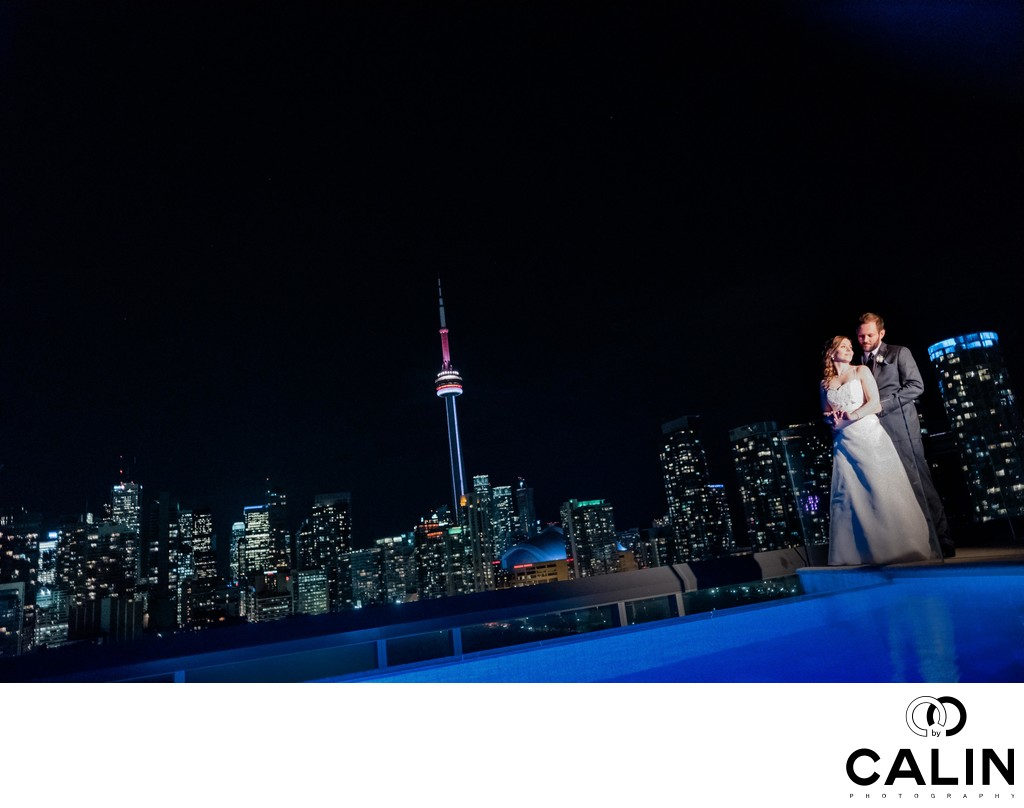 Splendid Night Portrait at a Thompson Hotel Toronto Wedding