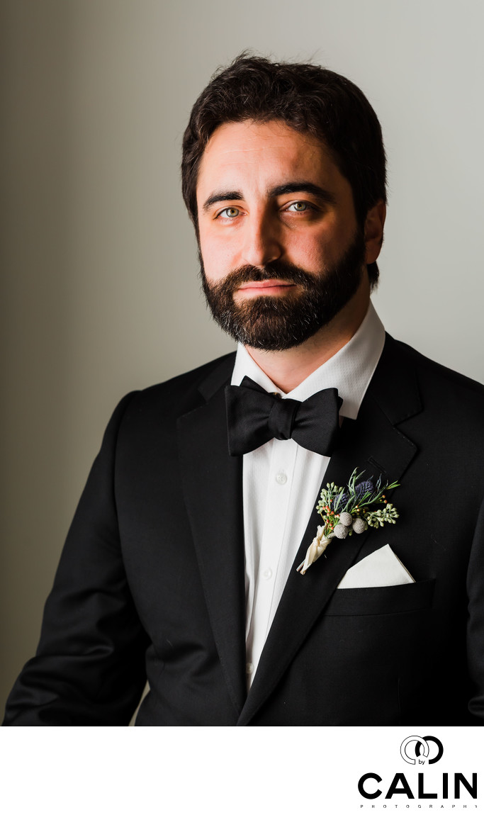 Groom Portrait Before at Sassafraz Wedding Ceremony